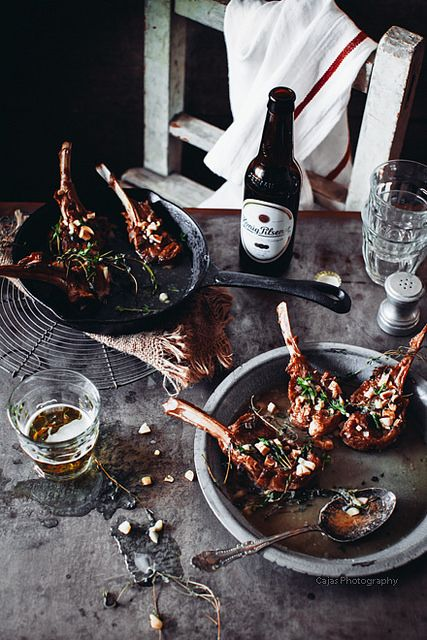 Lamb Cutlets with Beer Roasted Garlic