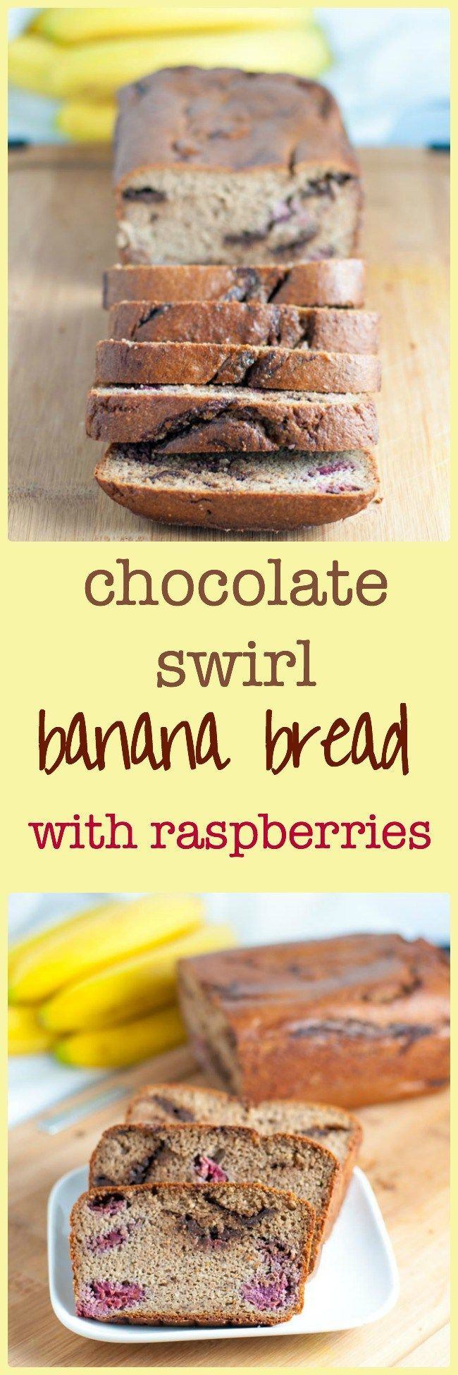 Chocolate Swirl Banan Bread with Raspberries. Is there anything more comforting than a warm slice of banana bread? This one is gluten-free, paleo and has no added sweetener. Swirled with dark chocolate and studded with raspberries, it's comfort food at its finest!