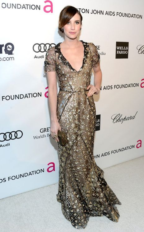 Emma Roberts at the Elton Johns AIDS Foundation Academy Awards Viewing Party. (EOnline.com)