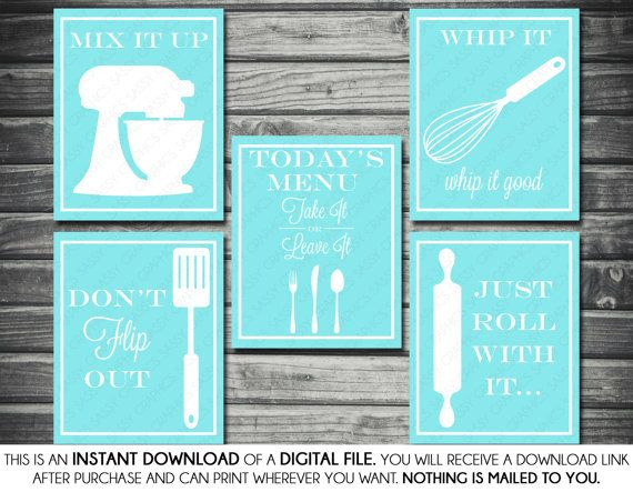 Kitchen Printable Artwork Bundle - Don't Flip Out, Mix It Up, Just Roll With It, Whip It Good, Turquoise, White, Printable, Digital