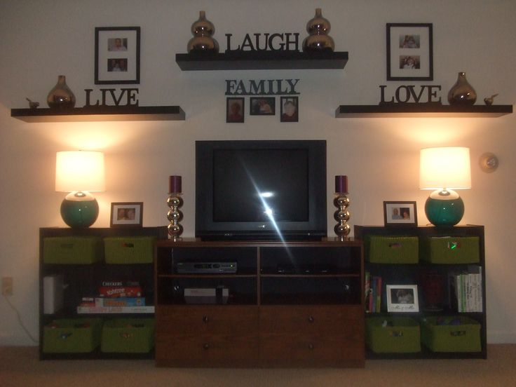 Shelves and picture placement on tv wall - this could work for low cost solution in play room!