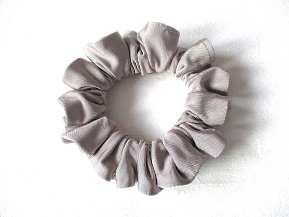 gray shiny soft slip skinny jersey scrunchie for long hair, gym accessory for women girl, handmade gift for her, grey scrunchy, 80s 90s