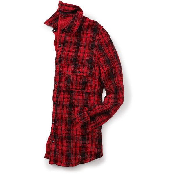 button down plaid shirt in red and black with high-low hem ($29) ❤ liked on Polyvore featuring tops, long button down shirt, plaid shirt, plaid button up shirts, button front tops and plus size long shirts