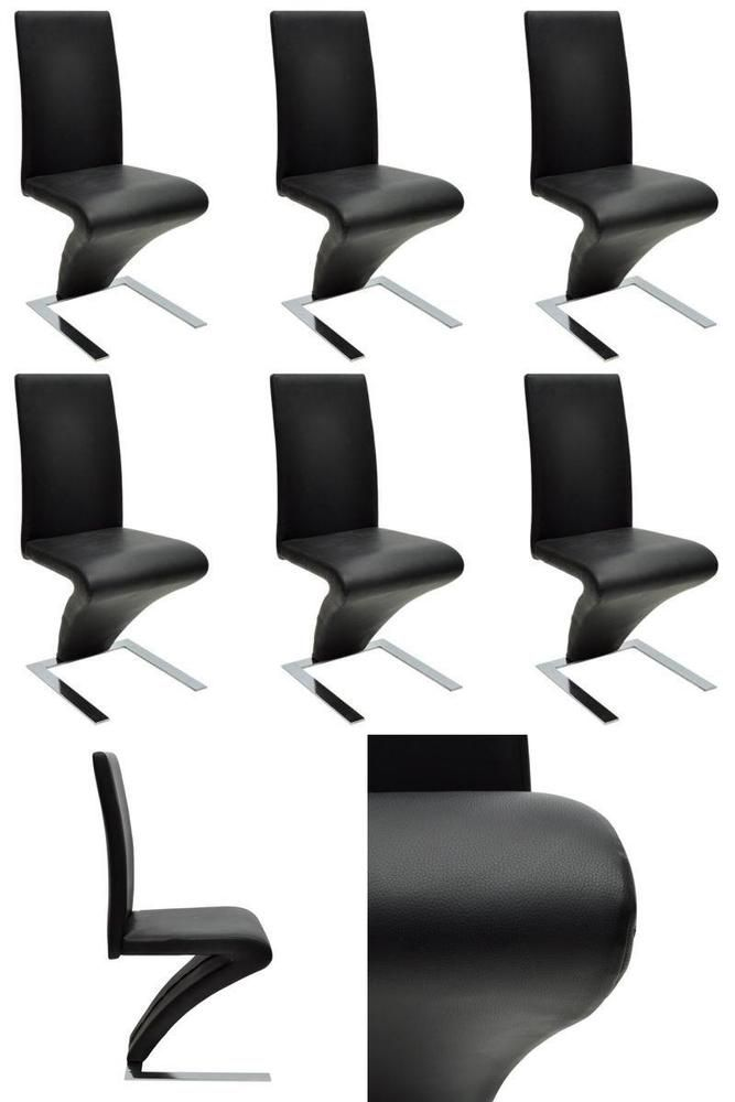 Black Dining Room Chairs Modern Z Shapped Set of 6 Seats Kitchen Home Furniture