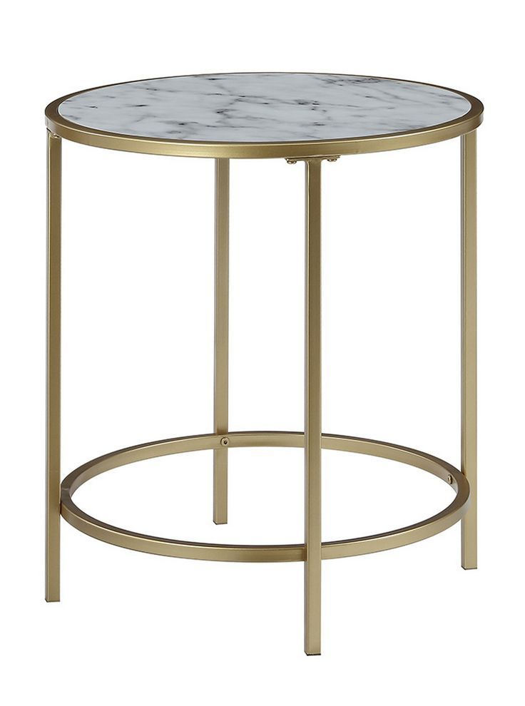 Gold Coast Deluxe Faux Marble Round End Table In W 413466wmg Coast Concepts Convenience Deluxe Faux Beistelltisch Gold Beistelltisch Rund Beistelltisch