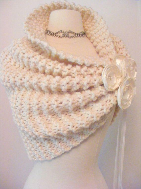 Wedding Shawl / Bride Bolero /Shrug / Ivory by ElegantKnitting