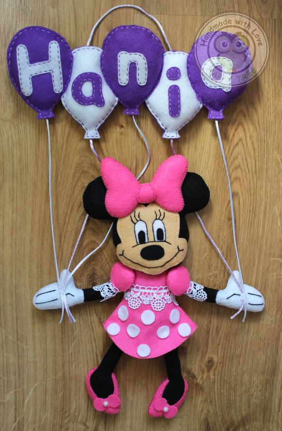 Minnie Mouse Felt Name Banner Wall by HappyTreeDecorations