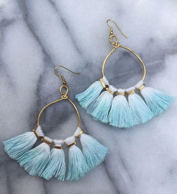 Dip Dyed Tassel Boho Earrings Hammered Metal Tassel Earrings