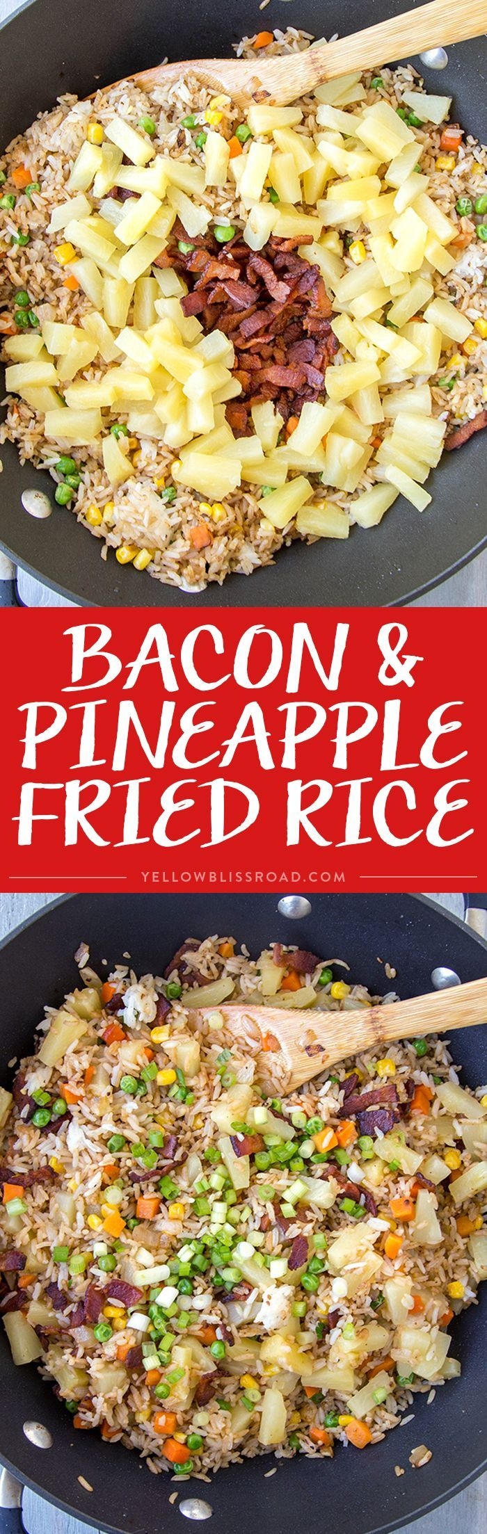 This Bacon & Pineapple Fried Rice is full of sweet pineapple and salty, crunchy bacon. It's ready in less than 15 minutes and makes a delicious side dish or entree any day of the week.                                                                                                                                                     More
