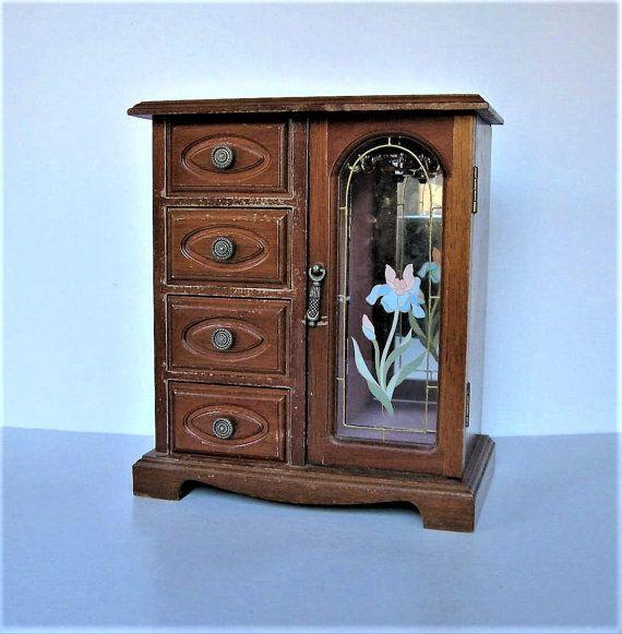 """Grote Vintage MELE hout sieraden doos, 4 lades, gespiegelde jewelry box met florale deur, Iris, ring roll, sieraden opslag, 10"""" hoog, cadeau idee"""
