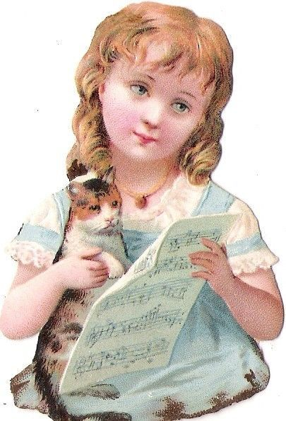 Oblaten Glanzbild scrap die cut chromo Kind child girl fille cat Katze kitten