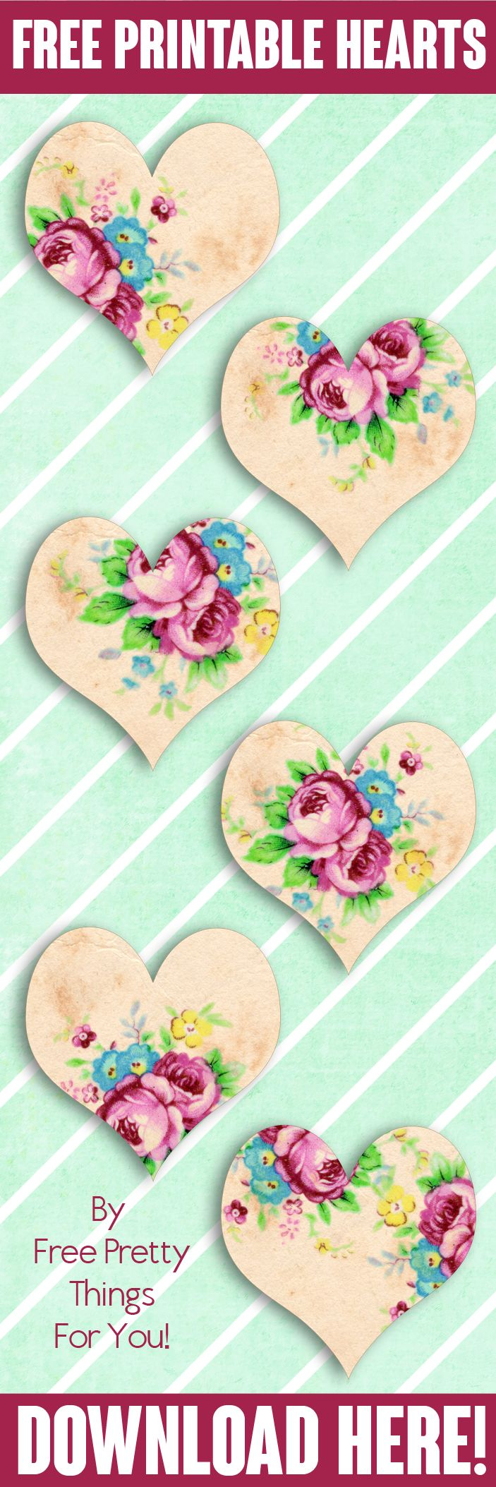 Free Printables: Gorgeous Vintage Floral Hearts - Free Pretty Things For You
