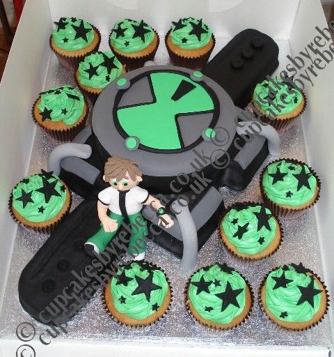 Ben 10 cake. He likes the watch part and the ben 10 and the stars on the cupcakes.