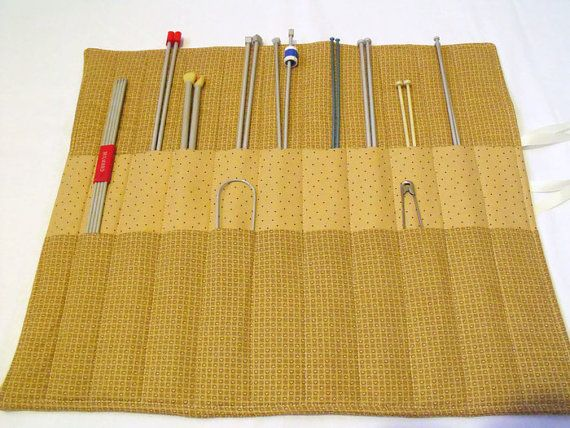 knitting needle case knitting needle roll by FingerPrickingGood