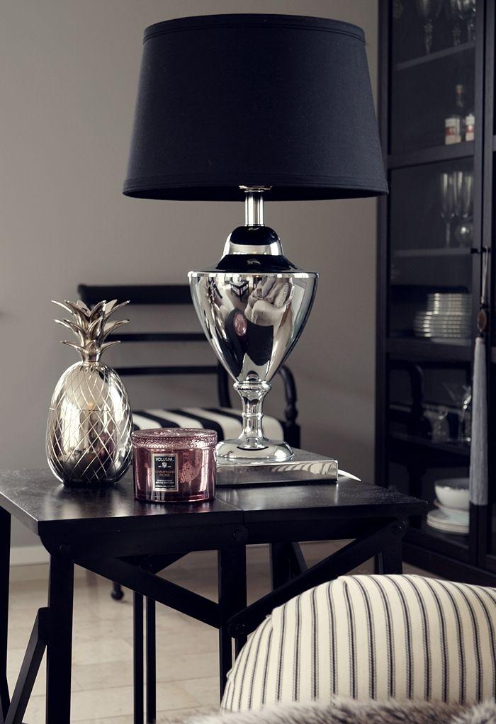 Sleek & sophisticated...silver & black table lamp.   Skonahem.