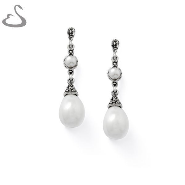 925 Sterling Silver, Marcasites, Fresh Water Pearls and Shell Pearls. Code: ER-120. Company: Vera's Bridal Collection. Website: www.verasbridalcollection.co.za