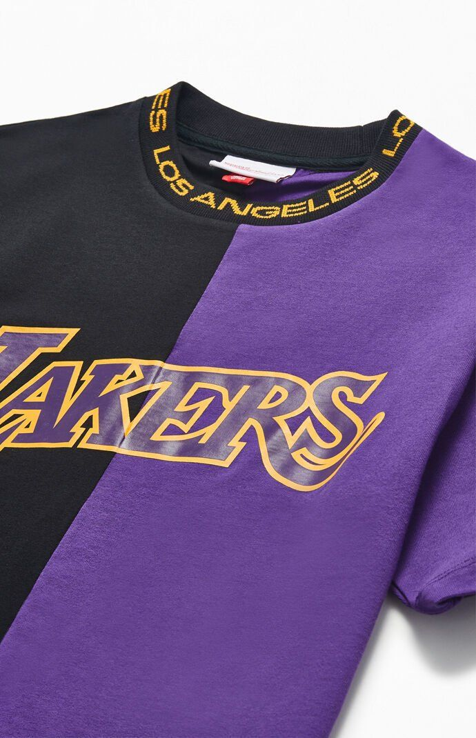 Mitchell Ness Los Angeles Lakers Split T Shirt In 2020 Los Angeles Lakers Vintage Street Fashion Lakers Shirt