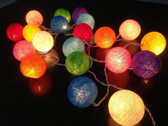 Cotton ball lights for home decor,party decor,wedding patio,20 pieces indoor, string lights ,bedroom fairy lights ,rainbow color on Etsy, $11.90