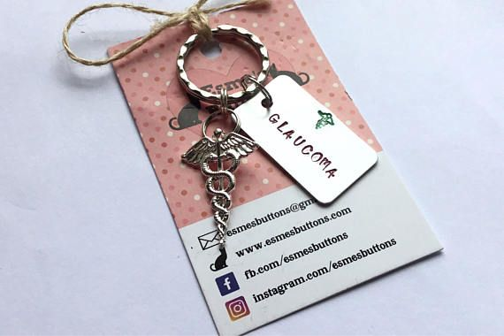 Medical alert, glaucoma alert, glaucoma, medical Keychain, Handstamped, Hand Stamped, UK seller, gift for him, gift for her,
