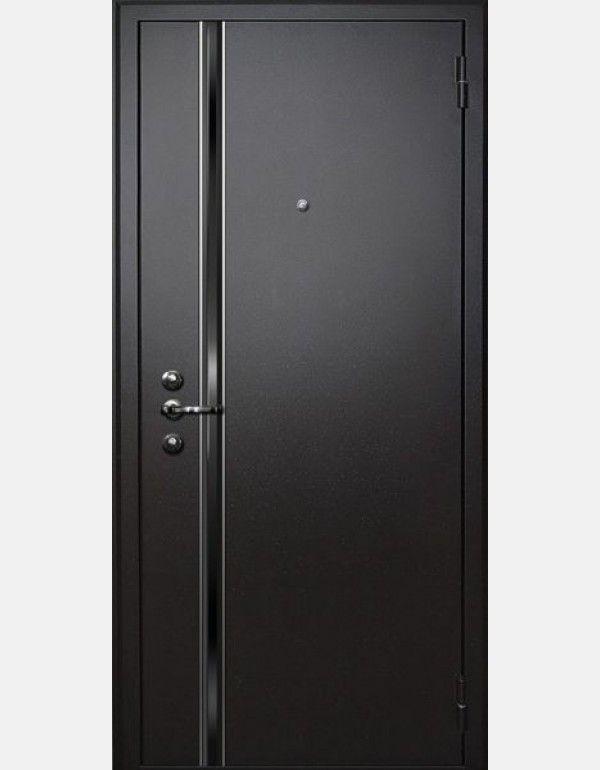 Входная дверь Муар М-3 (волна) New - Муар черный, волна глянец + молдинг / Патина премиум