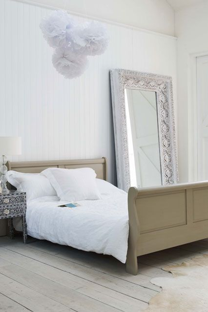Get Crafty with Pom-Poms- Home Decorating tips & ideas- Bedroom & Living Room (EasyLiving.co.uk): Sleigh Beds, Decor Tips, Mirror Mirror, Summer Teas Parties, Bedrooms Accessories, Floors Mirror, Beds Frames, Wooden Frames, Bedrooms Ideas