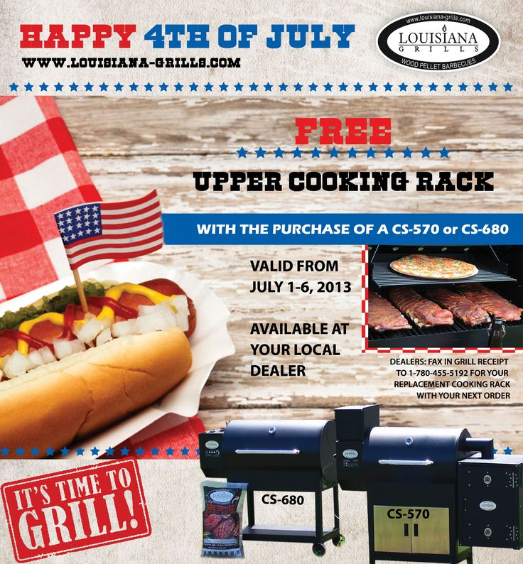 Louisiana Grills Fourth of July Giveaway. FREE universal upper cooking rack with the purchase of a country smoker 570 or 680 from July 1-6, 2013 at your local dealer.