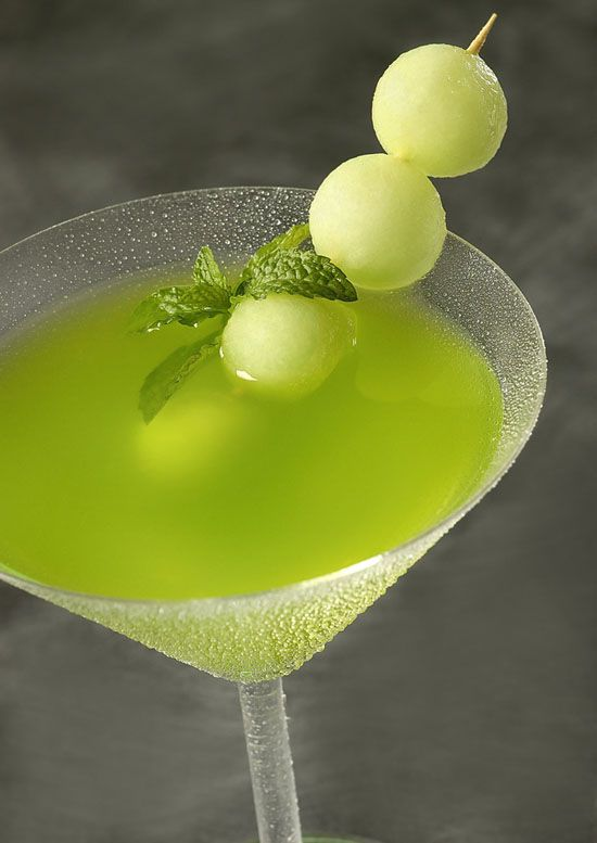 Honeydew Melon Martini ~ Belvedere Vodka, Honeydew melon puree, Midori, Lime juice, Triple sec, Champagne
