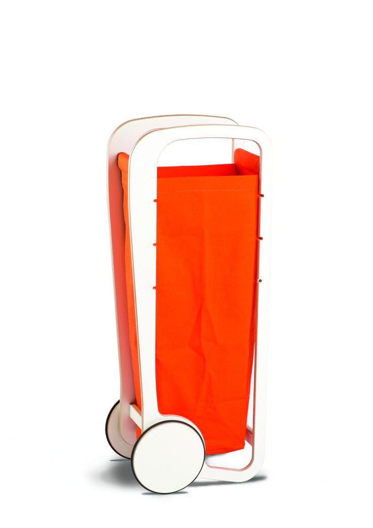 Fleimio Trolley Bag (orange) in white Fleimio Trolley.