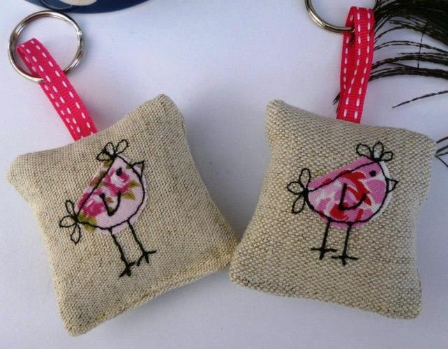 Whimsical embroidered applique keyrings - linen and vintage fabric