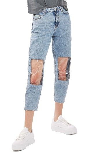 Clear Knee Mom Jeans at Nordstrom.com. Slick plastic panels bare your knees for a futuristic feel in tapered and cropped high-waist jeans.