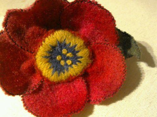 Fait-main-rose-Coquelicot-broche-bouillie-laine-manteau-echarpe-pull-pin-10-12-cm-XL: