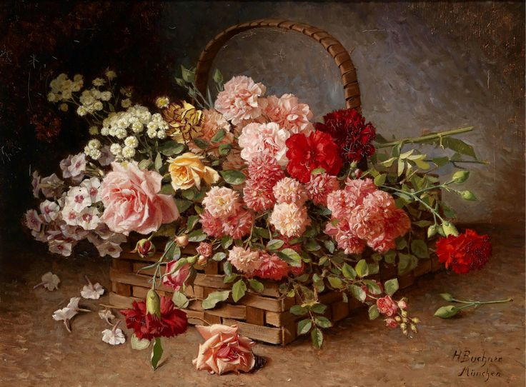 Hans Buchner (1856-1941) — A Basket of Roses and Carnations (1746×1286)