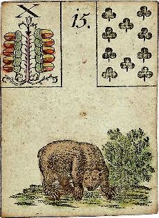 """The original Lenormand card instructions read: """"Bear means happiness, but it also indicates it is necessary to avoid discussions with an envious person."""""""