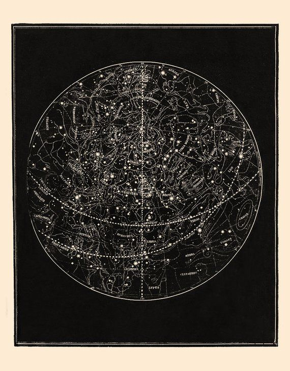 Star Map Art.Star Map Star Chart Constellation Print Constellations And