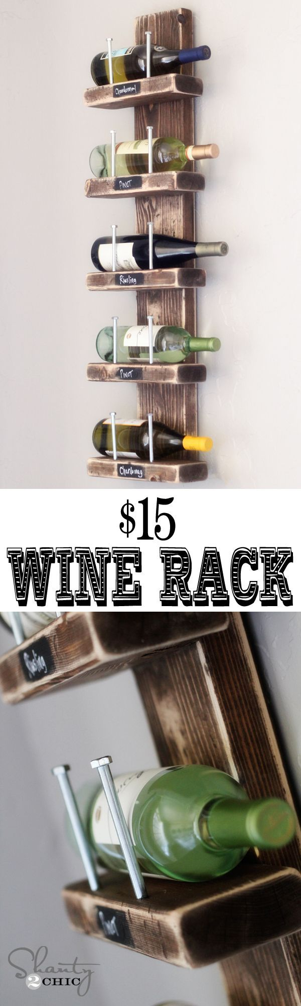Super cute Wine Rack! #DIY This is an easy DIY project with great impact and also veryinexpensive. I probably would paint mine. If the wall is painted, I would paint the rack white so that the bottles can show nicely. If the wall is white, I probably would paint it a light grey.