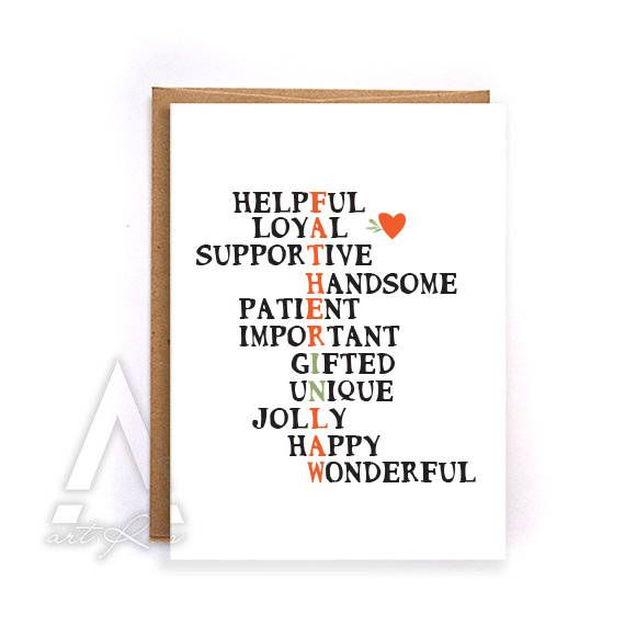 Unique Fathers Day Card For Father In Law Dad Long Distance Birthday Gift Idea Wedding GC242 By