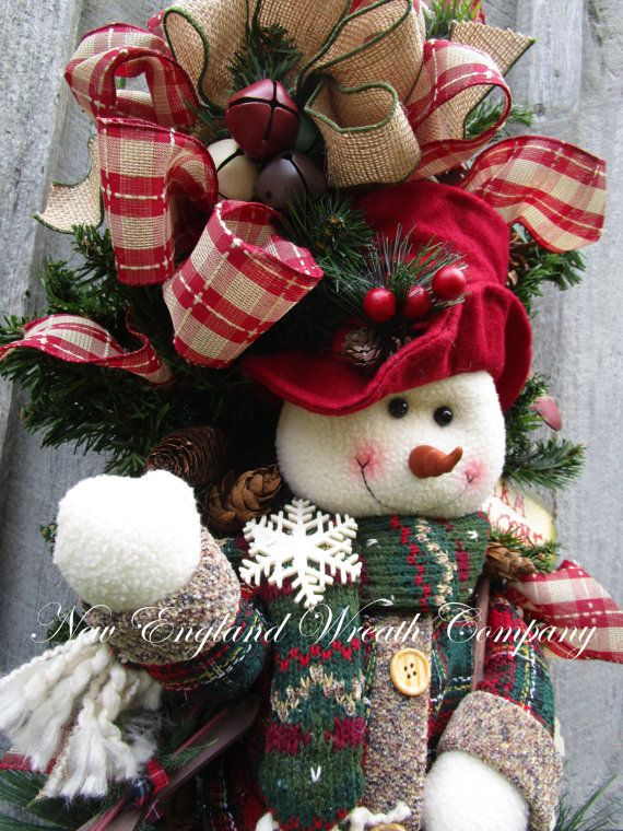 Christmas Wreath Holiday Wreath Snowman Swag by NewEnglandWreath