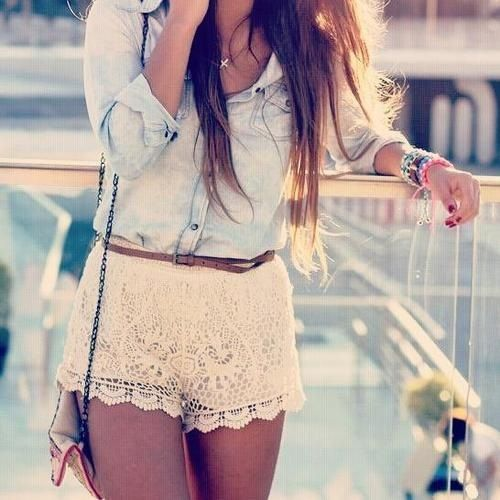 lace shorts, button up shirt, and long hair.. yes please!