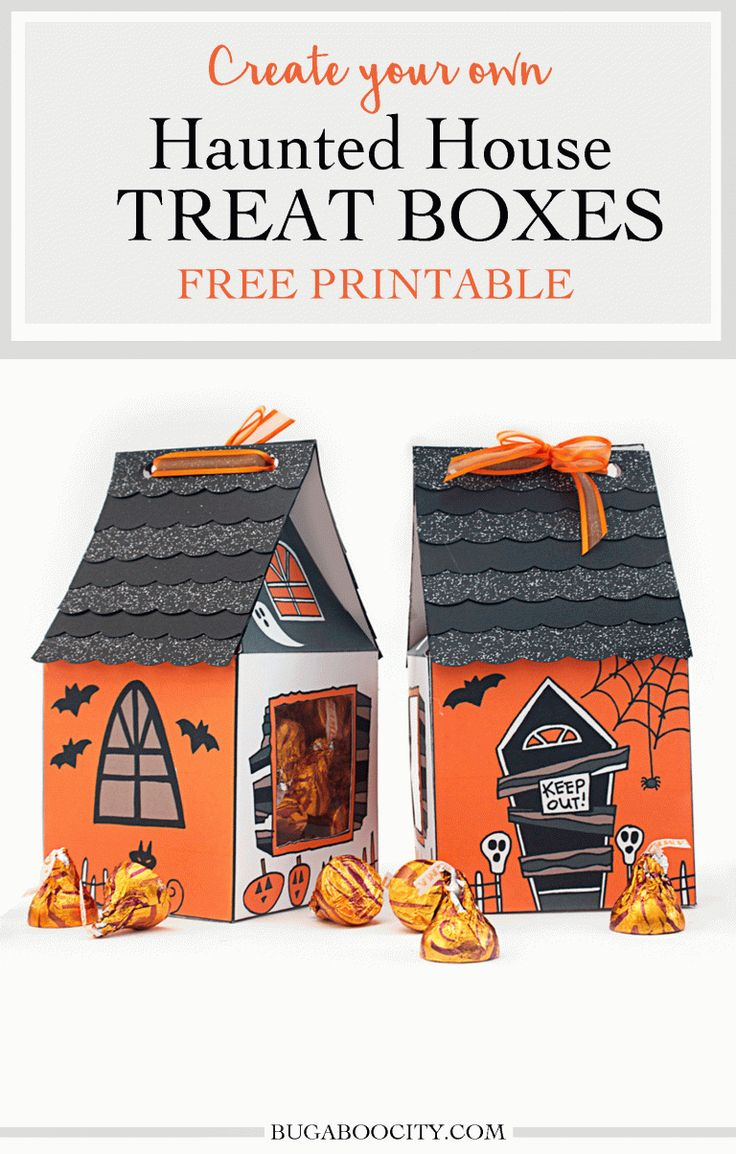 Create Your Own Halloween Haunted House Treat Box. Free Printable!
