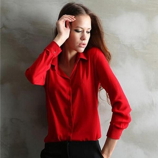 Women Shirt Loose Turn-down Collar Long Sleeve Chiffon Ladies Blouse Work Wear Formal Top Blusa Femininas Plus Size Autumn