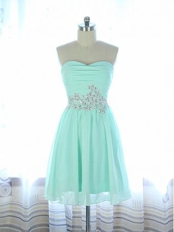 Beading Short Homecoming Dress,Sweetheart Mini Party Dress,Mint Chiffon Homecoming Dress