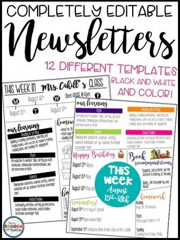 {Newsletters Editable Newsletters Editable Newsletters for Meet the Teacher Back to School Open House Forms} This resource…