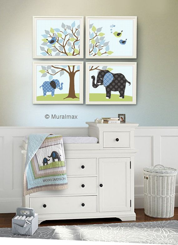 Baby Boy Room, Nursery print, Baby elephant, Green and Brown, 4 prints 8x10, Match Pottery Barn Brooks Nursery Bedding Set on Etsy, $48.00