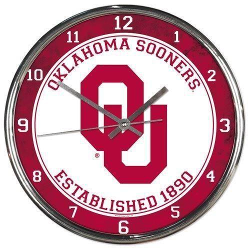 Oklahoma Sooners Round Chrome Wall Clock Chrome Wall