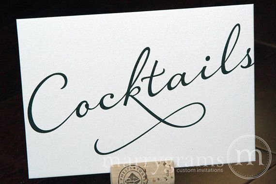 Cocktails Wedding Drinks Sign for Open Bar  Wedding by marrygrams