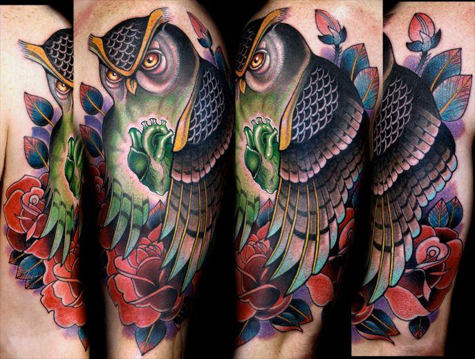 Owl Tattoo by Sean Herman