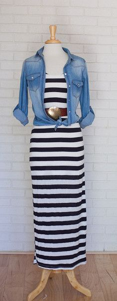 Black and White Striped Maxi Dress. Styled with a chambray shirt and brown belt. This super soft Maxi Dress is only $47 on COUTUREcolorado BOUTIQUE http://www.couturecoloradoboutique.com/collections/women/products/black-and-white-striped-maxi-dress Chambray Shirt is $47 - http://www.couturecoloradoboutique.com/collections/women/products/chambray-top