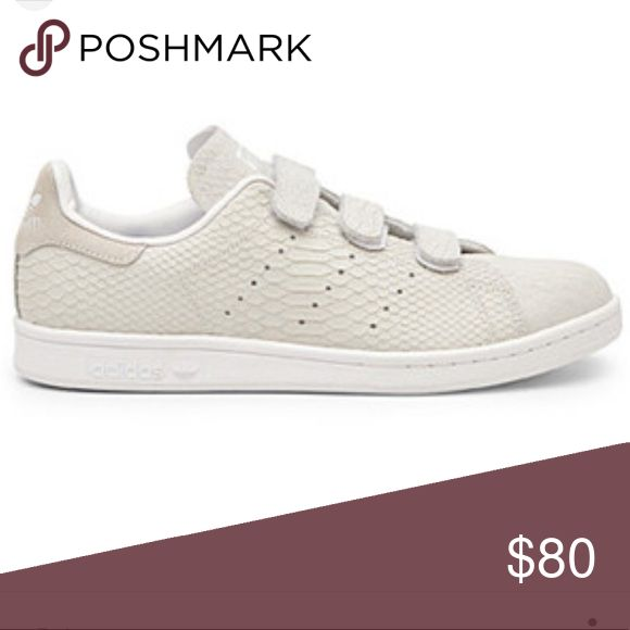 Adidas Stan smith sneakers Hardly worn adidas Stan smith velcro sneakers! They have an awesome off white snake pattern; great for fall! Adidas Shoes Sneakers