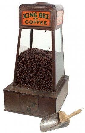 """Country store coffee bean dispenser, """"King Bee Coffee"""", : Lot 131"""