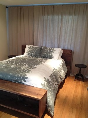 Master Bedroom With Off Center Window Behind Bed So Wall